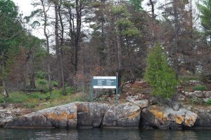 One of the many Parks Canada Islands in the 1000 Islands - watch for these signs!