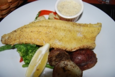 Corn-meal encrusted pickerel at the Glenhouse Resort, 1000 Islands