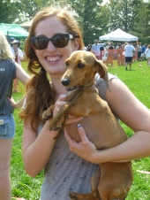 Proud Dachshund Dog Race winner!