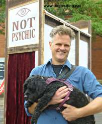 "Artist Tor Lukasik-Foss with Victor in front of ""Not a Psychic"" installation"