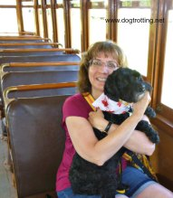 Dog and rider on historic train dogtrotting.net