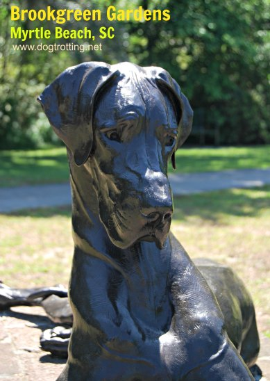 dog sculpture at Brookgreen Gardens, Myrtle Beach, SC dogtrotting.net