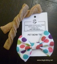 dog bow tie and treats from craft show dogtrotting.net