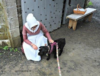Costumed greeter at dog-friendly Fort Wellington, Prescott, Ontario