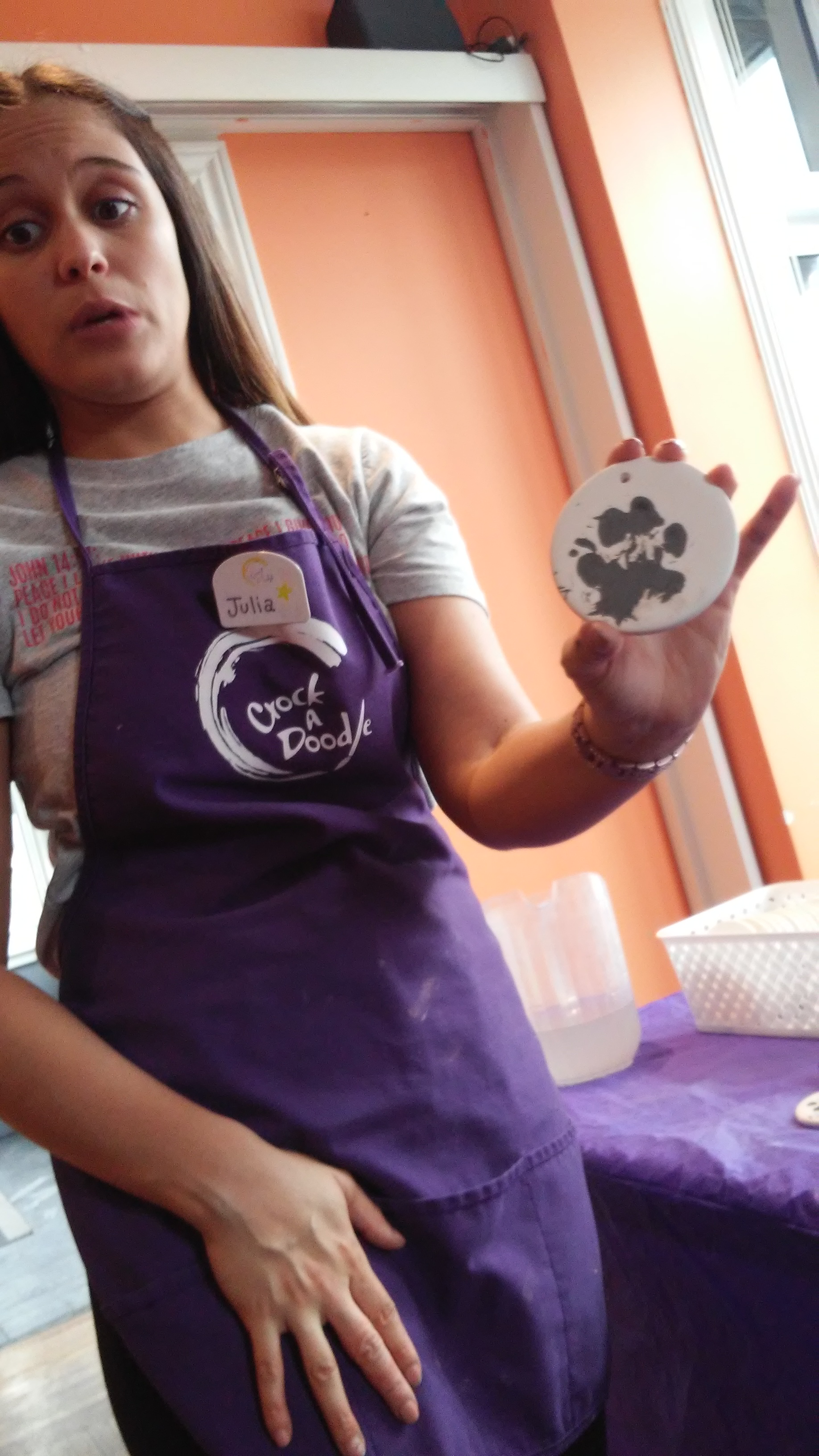 paw print on ceramics for dog rescue fundraiser