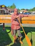 Costumed voyageur at Voyageur Lodge Ontario, Canada