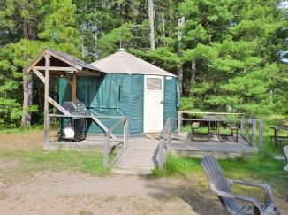 yurt at pancake bay in northern ontario, canada