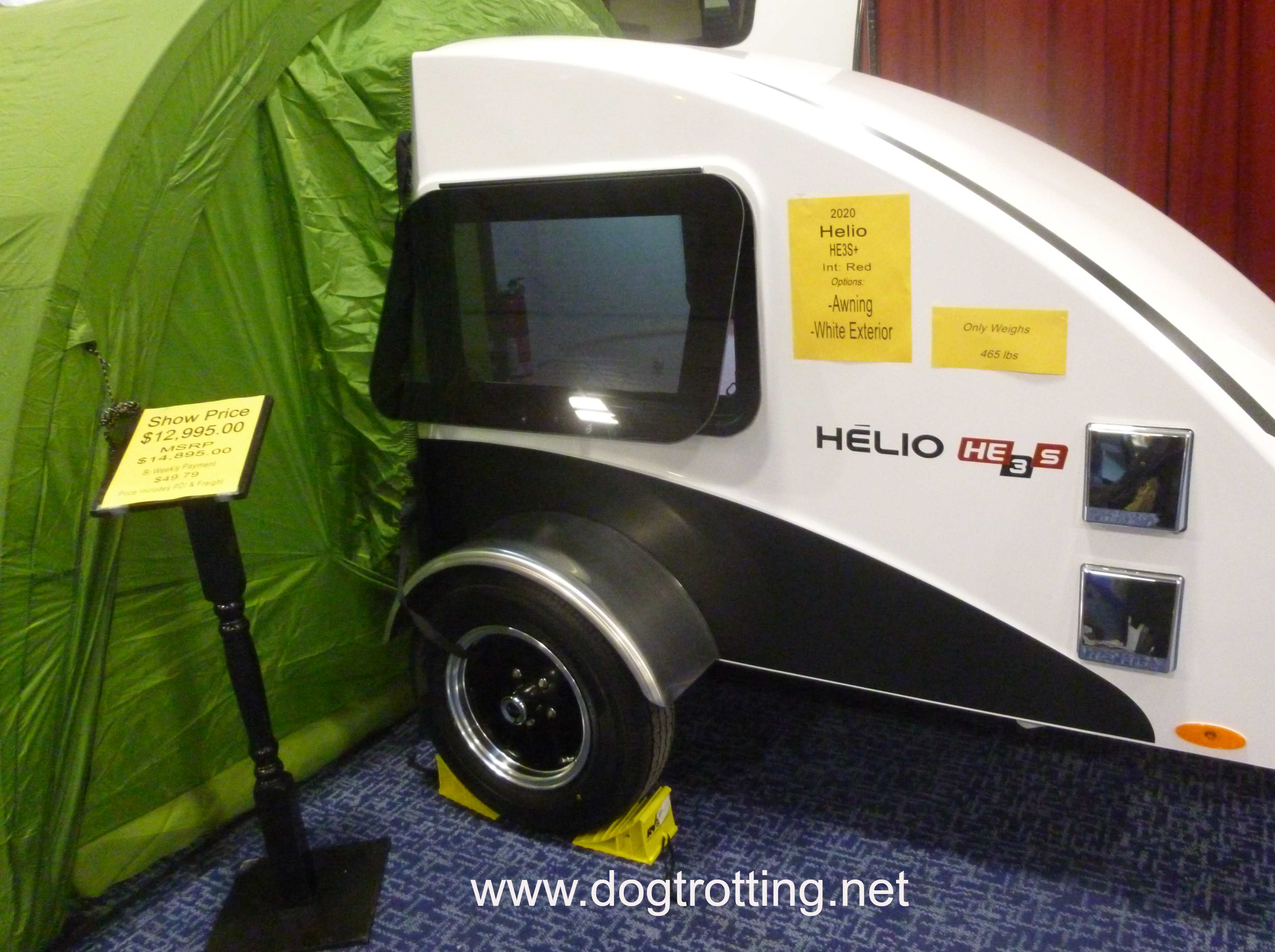 small camping trailer with tent